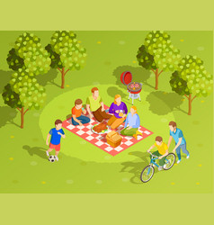 family summer countryside picnic isometric view vector image