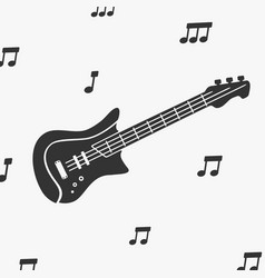 guitar silhouette and notes vector image vector image