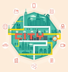Infographic smart city concept with different icon vector image