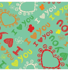 Romantic seamless pattern I love you vector image vector image