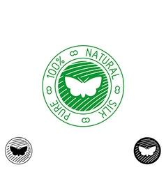 Silk logo 100 pure natural silk badge for clothing vector image vector image