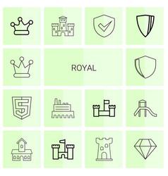 14 royal icons vector