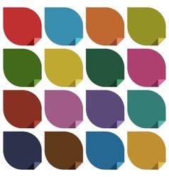 16 retro colored blank stickers vector