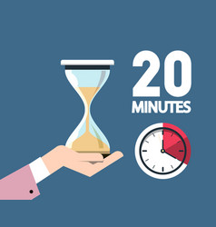 20 twenty minutes clock symbol with hourglass in vector image