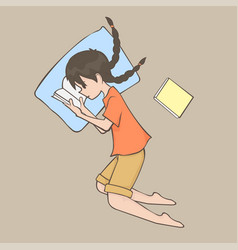 A girl in lay position and reading book cartoon vector