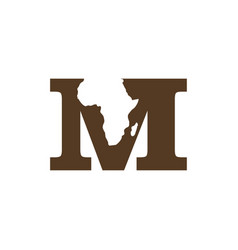 Africa continent with initial m negative space vector