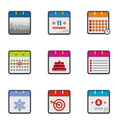 Almanac icons set flat style vector