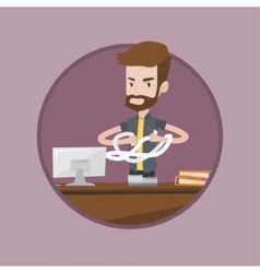 Angry businessman tearing bills or invoices vector image
