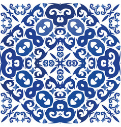 Antique portuguese azulejo ceramic vector