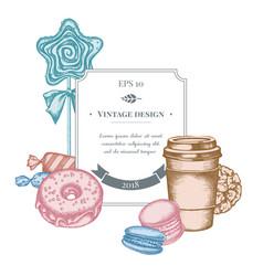 Badge design with pastel macaron candies paper vector