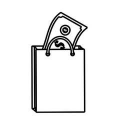 Bag gift present with bill money outline vector