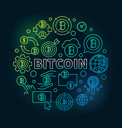 bitcoin round colorful round vector image