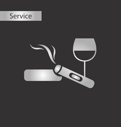Black and white style cigar glass of wine vector