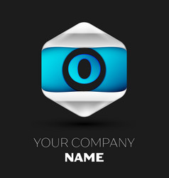 blue letter o logo in the silver-blue hexagonal vector image