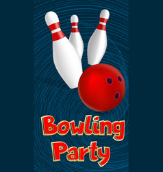 Bowling party banner realistic style vector