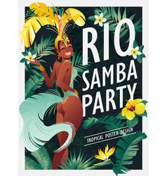 Brazilian samba dancer carnival in rio de janeiro vector