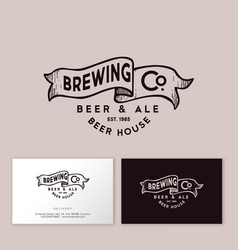 Brewing logo pub emblem ribbon letters craft beer vector
