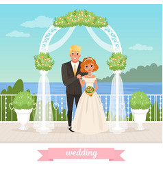 bride and groom standing under floral arch vector image