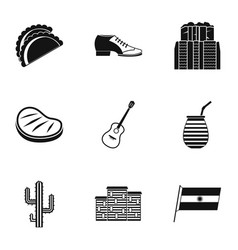 buenos aires travel icons set simple style vector image