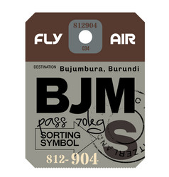 Bujumbura airport luggage tag vector