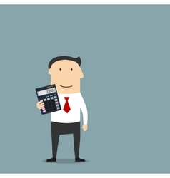 Businessman or accountant with calculator vector