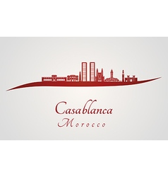 Casablanca skyline in red vector image