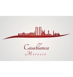 Casablanca skyline in red vector