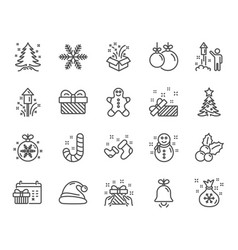 christmas line icons set of santa hat vector image