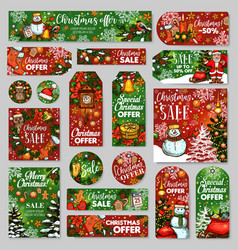 Christmas sale tag and winter holidays gift label vector