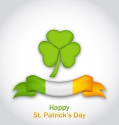 clover with ribbon in traditional Irish flag vector image