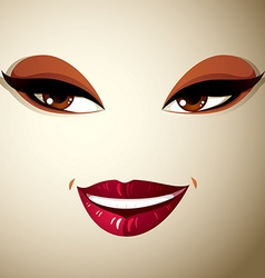 Coquette glad woman eyes and lips stylish makeup vector