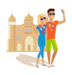 Couple selfie on summer vacation in india vector