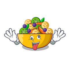 crazy dessert of fruits salad on cartoon vector image