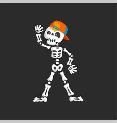 creepy skeleton character in baseball cap dancing vector image