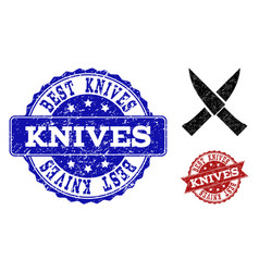 Crossing knives distress icon and seals vector
