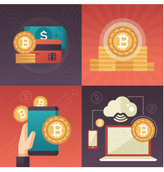 cryptocurrency - set colorful flat design style vector image