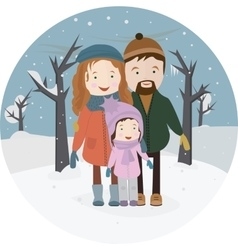 Dad Mother and baby outdoors Family winter vector