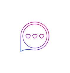 Dating app love chat icon line vector