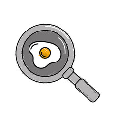 Delicious fried egg inside skillet pan vector