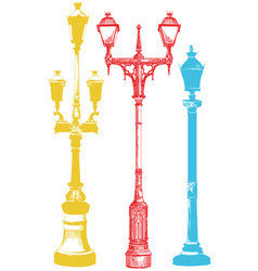 Different olorful street lanterns vector