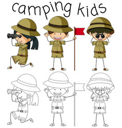 doodle graphic of camping kids vector image