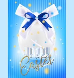 easter white egg with silk bow in confetti vector image