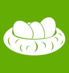 eggs in the nest icon green vector image