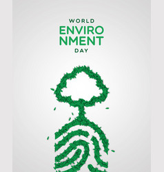 Environment day card green leaf finger print vector