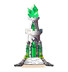 Fairytale tower with crystals vector