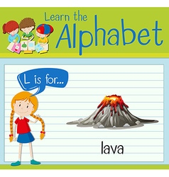 Flashcard letter L is for lava vector