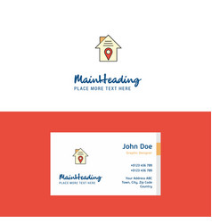 flat house location logo and visiting card vector image