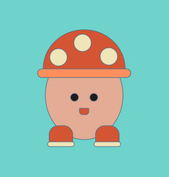Flat icon on background kids toy mushroom vector