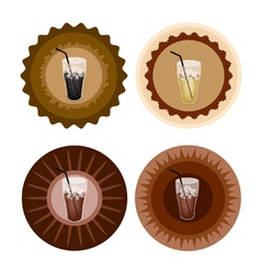 Four Type of Iced Coffee on Retro Round Label vector