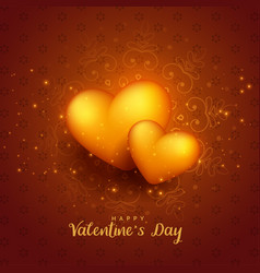 glowing golden 3d hearts valentines day background vector image